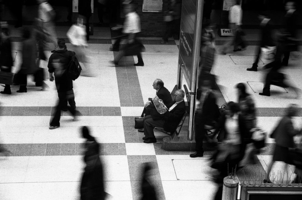 waiting at Liverpool Street Station, London